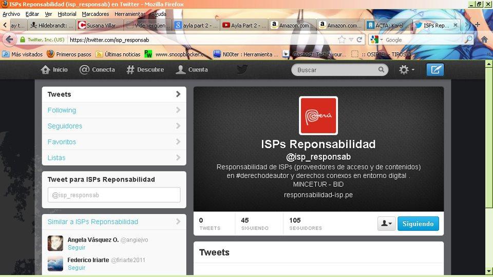 Pantallazo de la cuenta de Twitter de Responsabilidad ISP Perú